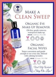 Clear off the day with NYR Organic Eye Make-up Remover and Organic Facial Wipes! Organic Facial, Organic Oil, Organic Skin Care, Organic Cotton, Eye Make-up Remover, Make Up Remover, Neals Yard Remedies, List Of Essential Oils, Organic Cleaning Products
