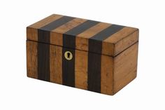 Rosewood and maple striped tea caddy. England, circa 1920