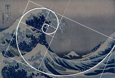 """""""Hokusai Meets Fibonacci Golden Ratio"""" by Ars Brevis: 'The Great Wave' by Hokusai, the perfect example of Fibonacci spiral, golden ratio being a 'Fibonacci code' for art, science and math. Fascinating artists and scientists for centuries."""
