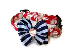 Red Baseball Dog Collar size Medium by jeanamichelle on Etsy, $16.00