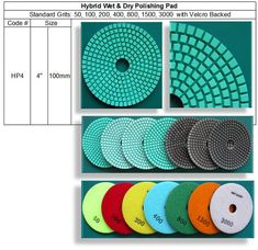 Hybrid Wet & Dry Polishing Pads are designed to use Wet & Dry Polishing ( with or without cooling water ). Featuring very high quality resin formulation to apply for major materials on natural and engineered stone, capable of delivering a beautiful polish on many other materials as well. Wet And Dry, Engineered Stone, Granite, Countertops, Concrete, Korea, Resin, Repeat, Quartz