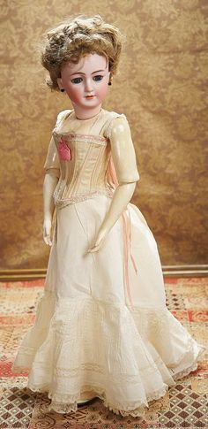As in a Looking Glass: 207 Large German Bisque Lady Doll,1159,by Simon and Halbig in Original Undergarments