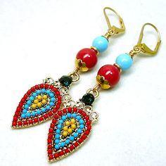 + 120 Unique Mother's Day Gifts : Turquoise and Red Coral Crystal Pearl Southwest Gold Dangle Earrings - Gifts & Ideas : Explore & Discover the best handpicked gifts & ideas for any occasion Shades Of Turquoise, Red Coral, Red Turquoise, Unique Mothers Day Gifts, Mother Day Gifts, Happy Mothers, Red Poodles, Types Of Earrings, Large Hole Beads