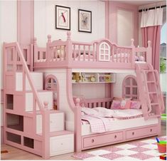 Made To Order Beautiful Pink Luxury Bunk Bed With Storage £895.00 This luxury girls bed is the perfect addition to any child's room The attention to detail, hand painted decor and quality craftsmanship just oozes out of this design This bed design has the single bed located at the top of the stairs and another single below The stairs are situated on the right hand side of the bed which also provide built in storage And a ladder located to the left There are built in shelves and also 2 pull…