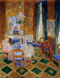 Le Salon burguesa, óleo de James Ensor (1860-1949, Belgium)