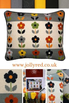Tapestry flowers to add a little va-va-voom to your sofa, in grey, ecru and zingy brights. Fabulous floral tapestry to add a little va va voom to your favourite sofa or armchair. Cross Stitch Embroidery, Embroidery Patterns, Hand Embroidery, Cross Stitch Patterns, Crochet Patterns, Cushion Embroidery, Cross Stitching, Needlepoint Designs, Needlepoint Pillows