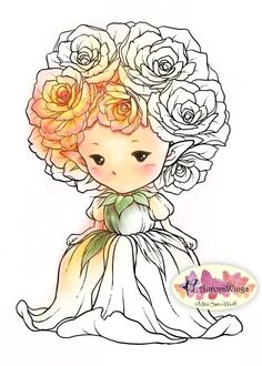 Digital Stamp - Whimsical Rose Sprite - Instant Download - Cute Flower Fairy Image - Fantasy Line Art for Cards & Crafts by Aurora Wings