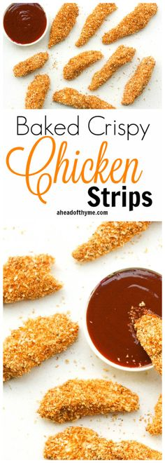 Baked Crispy Chicken Strips: Juicy long strips of chicken shaped perfectly for dipping and coated with a flawless crispy and crunchy exterior, baked crispy chicken strips are a pleaser | aheadofthyme.com