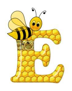 Alphabet letters bee on honeycomb. Alphabet Art, Alphabet And Numbers, Letter Art, Scrapbook Letters, Bee Pictures, Spelling Bee, Cute Bee, Bee Crafts, Bee Happy