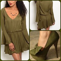 Olive Green Dress-ON SALE TODAY ONLY This adorable dress features a V neckline, elastic waist and long bell sleeves. Fully lined. 100% Polyester. Perfect Holiday dress. (This closet does not trade or use PayPal) Blue Blush Dresses Mini