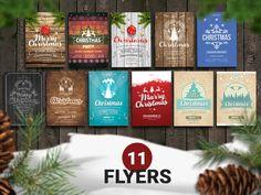 11 PSD Christmas Retro Flyer Template by Vitali Raidziuk