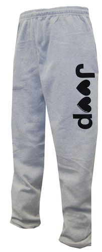 """All Things Jeep - """"J♥♥p"""" Open-bottom Gray Sweatpants (And they come several sizes too big fyi) still love though!"""