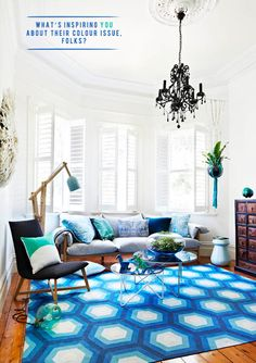 How awesome is this #Blue honeycomb rug? #decor #design