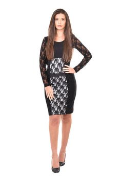 Stylish lace dress in black and white. The model is with long lace sleeves and leather detail around the waist. It is very elegant and feminine, appropriate for a formal occasion or a night out.