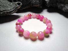 Watermelon Color Agate Stretch Bracelet/Pinks and by LizDesign7, $15.00