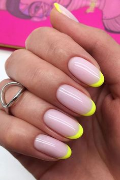 Colored French Nails, French Tip Nails, Colorful French Manicure, Nails French Design, Colored Tip Nails, Colourful Nails, French Manicures, French Tips, Colored Hair