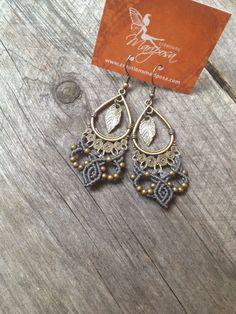 Micro macramé earrings grey boho jewelry by creationsmariposa, $25.00