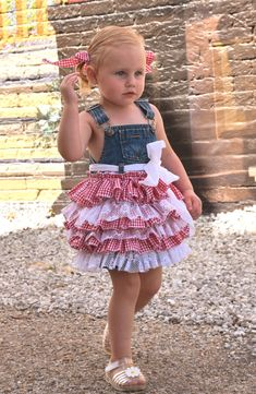 denim overall country dress birthday flower girl linen lace gingham red white checkered picnic girls baby toddler july 4th fourth on Etsy, $65.00