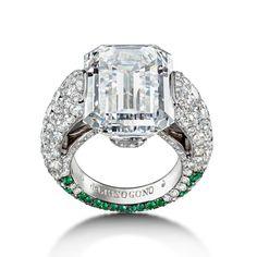 22.35-carat emerald-cut diamond ring with emeralds   de GRISOGONO   The Jewellery Editor