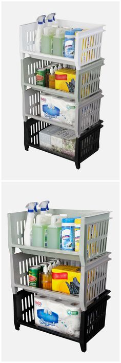 "If you're looking for a very functional way to create simple storage, stacking baskets are perfect. Easy to assemble, and can fit in a variety of rooms. Seen here is the Storage Stacking Basket (in black, ""Wet Cement Gray,"" ""Bayou Green"" and white). http://www.homedepot.com/p/GSC-Technologies-19-in-x-14-in-x-10-in-Storage-Stacking-Basket-in-Black-STSB101902/205908169"