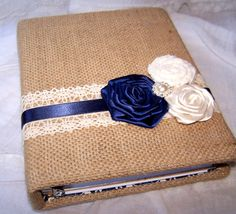 Bridal Shower Guest Book - Shabby Chic, Tan Burlap with Navy Blue and Ivory…