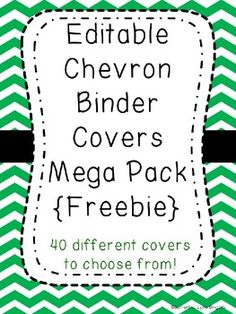 Editable Chevron Binder Covers {Freebie} Editable Chevron Binder Covers {Freebie} - to make roadtrip binders for my girls! Include bingo, checklists, color sheets, blank paper for games like hangman, etc! Organization And Management, Teacher Organization, Classroom Management, Teacher Binder, Teacher Tools, Teacher Resources, Future Classroom, School Classroom, Classroom Decor