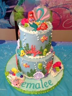 Little Mermaid Cake, with royal icing and gumpaste figures.  SMBC over a vanilla bean cake with Bavarian Cream filling