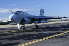 An EA-6B Prowler assigned to Marine Tactical Electronic Warfare Squadron 4, Marine Corps Air Station Cherry Point, N.C., taxis down the runway during RED FLAG-Alaska 13-1 Oct. 9, 2012, Eielson Air Force Base, Alaska. EA-6B protects fleet surface units and strike aircraft by jamming enemy radar and communications. (U.S. Air Force photo/Staff Sgt. Jim Araos)