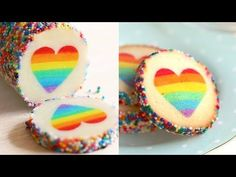 "Ultimate Valentine Day's Cookies! Here come rainbow heart cookies called ""Eugenie Cookies. Viewers' Rainbow Heart Cookies ♦ Please TAG ME if you make my Heart Cookies, No Bake Cookies, Cake Cookies, Sugar Cookies, Cookie Favors, Macaron Cookies, Rainbow Treats, Rainbow Food, Rainbow Heart"