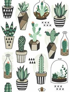 Vecteur : Seamless pattern with succulents in terrarium. Vecteur : Seamless pattern with succulents in terrarium. Cactus Drawing, Cactus Art, Cactus Painting, Drawing Drawing, Diy Painting, Doodle Art, Illustration Art, Illustrations, Landscape Illustration