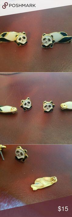 Berebi Panda earrings Vintage Berebi enamel earrings in almost new condition. Edgar Berebi Jewelry Earrings
