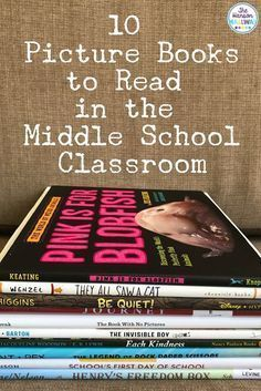Picture Books in Middle School Using picture books in your classroom can engage reluctant readers, help introduce a lesson, and build community. Check out tips & resources for using picture books in middle school from The Hanson Hallway at The Secondary Middle School Books, Middle School Libraries, Middle School English, Middle School Classroom, Middle School Science, High School, Middle School Advisory, 7th Grade English, Middle School Activities