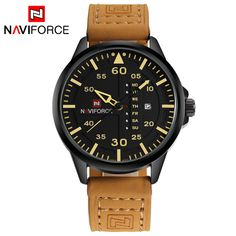 Top Luxury Brand NAVIFORCE Men Sports Watches Men's Quartz Date Clock Man Leather Army Military Wrist Watch Relogio Masculino Oh just take a look at this!  #shop #beauty #Woman's fashion #Products #Watch