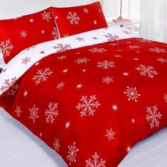 Falling Snowflakes Quilt by LivingQuarters at .bonton.com   Red ... : red snowflake quilt - Adamdwight.com