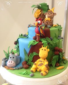 Dschungel-Torte Safari Birthday Cakes, 2nd Birthday, Birthday Parties, Birthday Ideas, Jungle Cake, Animal Cakes, Little Cakes, Cake Pictures, Baby Shower Cakes