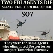 FBI agents who eliminated Boston terrorist Tsarnaev mysteriously killed.  The spokesman for the FBI medical examiner in Norfolk, VA, has determined that it may be weeks before a cause of death is revealed in an accident involving two Hostage Rescue Team (HRT) agents. Over the weekend, it was reported that authorizes would reveal more details about the accident no later than Monday, but according to today's news, the accident is even more baffling. May 20, 2013.