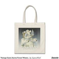 Vintage Santa Snowy Forest Winter Animals Tote Bag