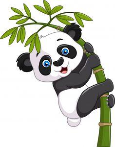 Vector illustration of Cute funny baby panda hanging on a bamboo tree Cartoon Cartoon, Cartoon Characters, Cute Panda Cartoon, Cute Panda Drawing, Baby Drawing, Image Panda, Panda Mignon, Cartoon Mignon, Cute Panda Wallpaper