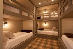 Traditional Kids Bedroom with Magee plaid 5400 golden amber, Bunk beds, Carpet, Built-in bookshelf, Bulkhead sconce