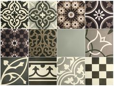 VN Patchwork Zwart-wit tinten Portugese cementtegel van Designtegels.nl