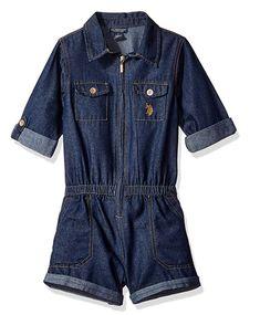 U.S. Polo Assn. Girls  Dark Blue Denim Romper 1ad018f81574