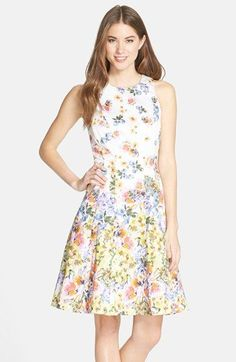 f4aec789cd0 Maggy London Floral Print Sateen Fit   Flare Dress (Regular   Petite)