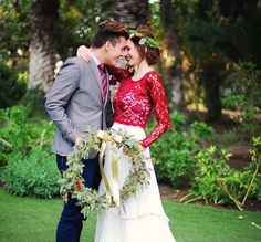 red lace wedding dress overlay for a modern alternative bride