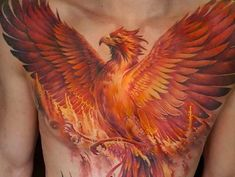 From Greek mythology, the Phoenix would rise from the ashes of the Phoenix that came before it. A Phoenix tattoo symbolizes