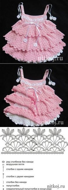 Baby Dress Dress for girls - crochet. Crochet Girls, Crochet Baby Clothes, Crochet For Kids, Knit Crochet, Crochet Dress Girl, Baby Knitting Patterns, Baby Patterns, Dress Patterns, Crochet Patterns