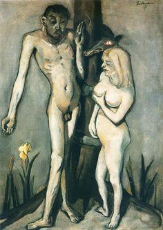 Adam and Eve - Max Beckmann. Artist: Max Beckmann. Completion Date: 1917