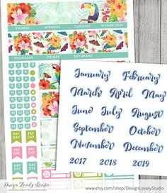 Erin Condren Printable Planner Stickers Kit with tropical floral motives, monthly planner stickers
