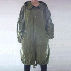 57a85bcaea7 Fishtail Parka XL 80s Vintage Anorak Olive Army Green Cotton Unisex OneSize  Oversized Hoodie Militar Vespa