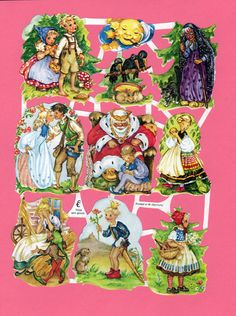 Glansbilleder are paper cutouts popular in Scandinavia.  They peaked in popularity in the 1940s and 1950s.Here are a few