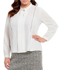 3b35d9bded4fa0 Tahari ASL Plus Size Pleat Front Braid and Lace Trim Top#Size, #Pleat,  #Tahari